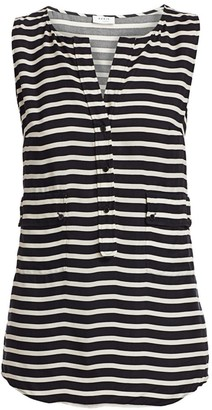 Akris Punto Sleeveless Striped Pocket Blouse