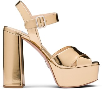 Prada Metallic Chunky Sandals