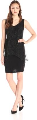 SL Fashions Women's Embellished Long Mesh Tunic Over Sheath Dress