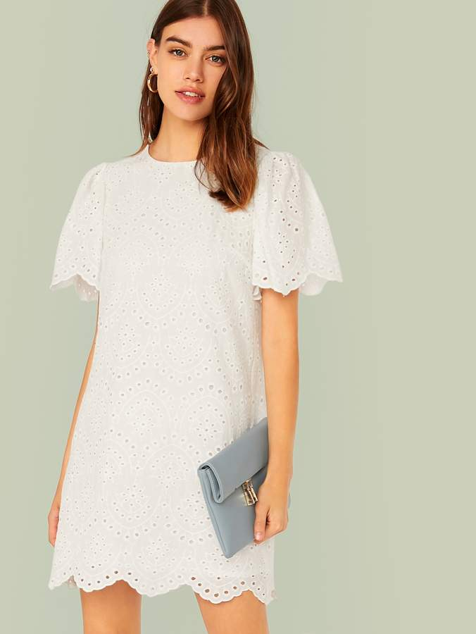 Shein Scallop Edge Eyelet Embroidered Tunic Dress