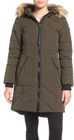 GUESS Women's Quilted Anorak With Faux Fur Trim