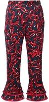 Piamita bow print cropped trousers - women - Silk/Spandex/Elastane - XS