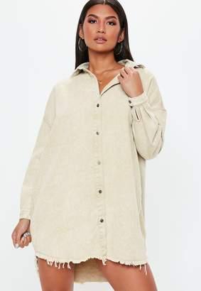 Missguided Cream Oversized Denim Shirt Dress
