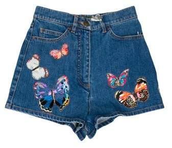 Valentino Jamaica Butterfly Denim Shorts w/ Tags