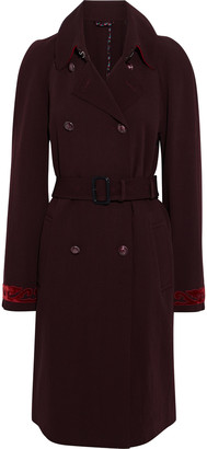 Etro Velvet-trimmed Drill Trench Coat