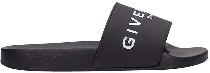 Givenchy Slide Flats In Black Rubber
