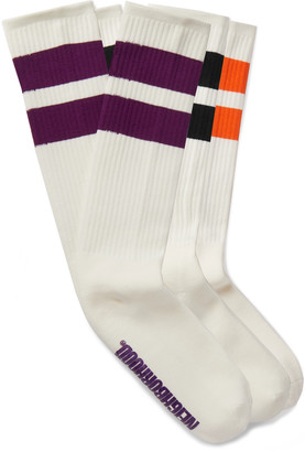 Neighborhood Three-Pack Logo-Print Striped Stretch Cotton-Blend Socks