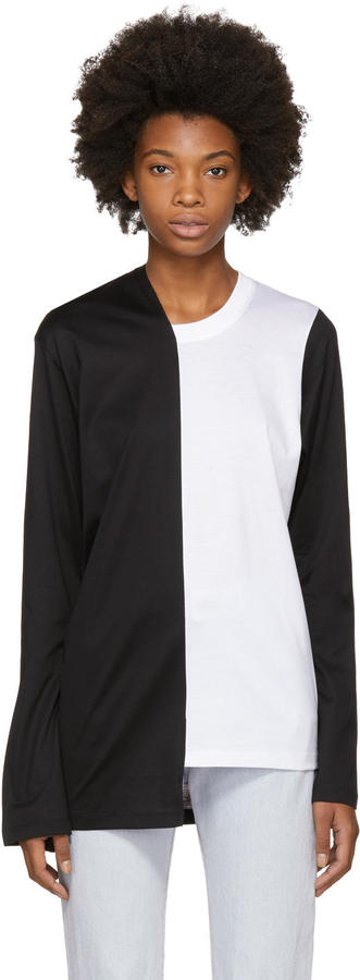 Marques Almeida Black and White Bell Bottom Sleeve T-shirt