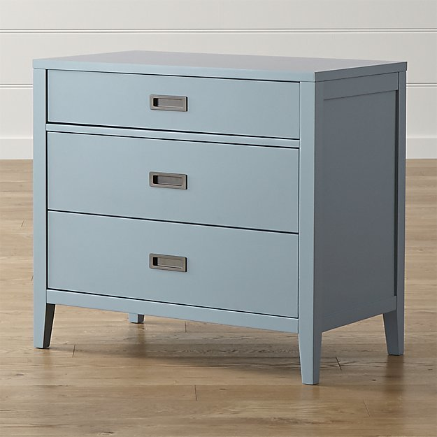 Crate & Barrel Arch Blue 3-Drawer Chest