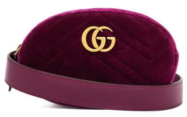 Gucci Gg Marmont Velvet Belt Bag - Womens - Purple