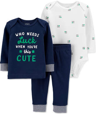 Carter's Carter Baby Boys & Girls 3-Pc. Cotton Luck T-Shirt, Printed Bodysuit & Pants Set