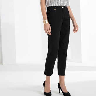 """Anne Weyburn Stretch Cotton Ankle Grazer Straight Trousers, Length 26.5"""""""