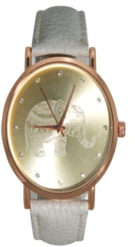 Preston Women's Artsy Elephant Rhinestone Leather Strap Watch 42mm