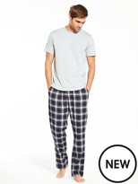 Very Short Sleeve Top And Brushed Check Pj Set