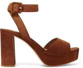 Miu Miu Suede Platform Sandals - Tan