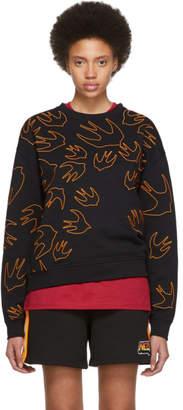 McQ Black and Orange Embroidered Swallow Signature Sweatshirt