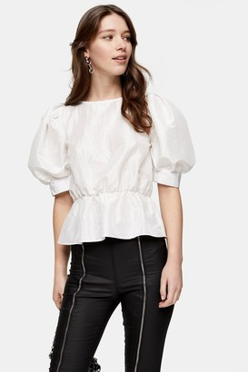 Topshop Womens Ivory Short Sleeve Puff Taffeta Blouse - Ivory