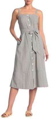 Michael Stars Raina Striped Button-Down Midi Dress