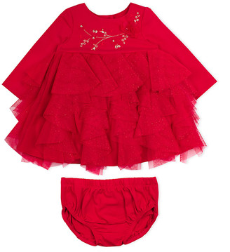 Biscotti Girls' Special Occasion Dresses RED - Red Ruffle Mesh Tiered A-Line Dress & Red Bloomers - Infant