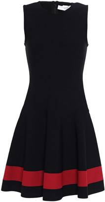 Victoria Beckham Ruffled Striped Intarsia-knit Mini Dress