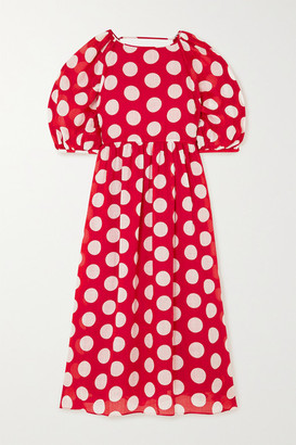 Paul & Joe Carthage Open-back Polka-dot Ramie Midi Dress - Red