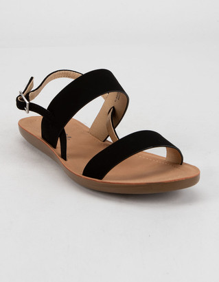 Soda Sunglasses Double Strap Buckle Womens Black Sandals