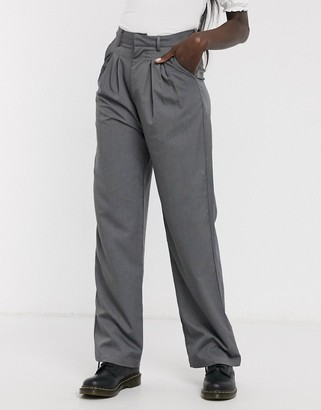 Daisy Street relaxed wide leg trousers with pleat front co-ord