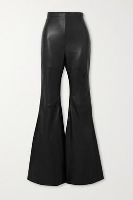 Balmain Leather Flared Pants - Black