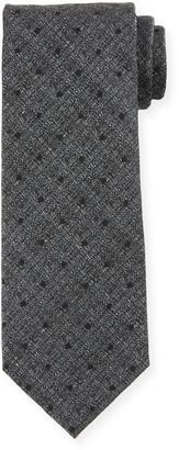 Tom Ford Tonal Dot Silk-Wool Tie, Gray