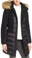 1 Madison Mixed Media Faux Fur Trim Hooded Down Coat