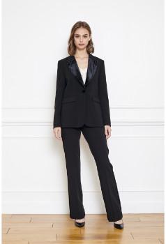 MKT Studio Black Vanelle Tuxedo Jacket - black   polyester   34 (6) - Black/Black