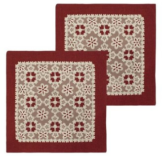 Bounce Comfort Cecilia Lace and Embroidery Applique Pillow Cover Color: Burgundy