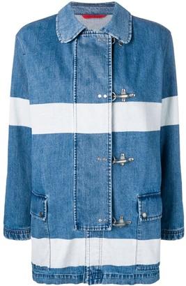 Fay striped denim duffle jacket