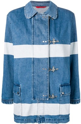 Fay Striped Denim Duffle Jacket