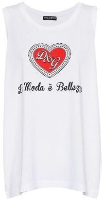 Dolce & Gabbana Printed cotton tank top