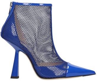 Jimmy Choo Kix 100 High Heels Ankle Boots In Blue Leather