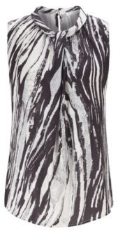 HUGO BOSS Sleeveless Top In Zebra Print Italian Twill - Patterned