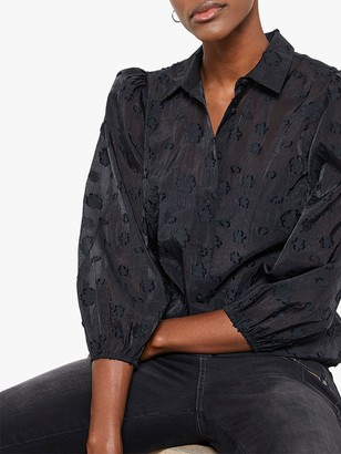 Mint Velvet Organza Shirt, Black