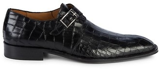 Mezlan Croc-Embossed Leather Monk-Strap Shoes