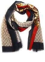 Gucci Tiger Print Gg Motif Wool Scarf