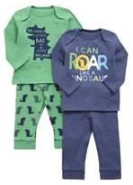 F&F 2 Pack of Dinosaur Print Pyjamas, Newborn Boy's