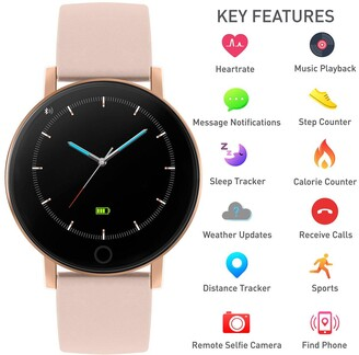 Reflex Active Series 5 Smartwatch with Heart Rate Monitor, Colour Touch Screen and Nude Pink Silicone Strap