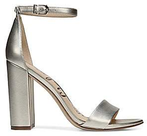 Sam Edelman Women's Yaro Ankle-Strap Metallic Leather Sandals