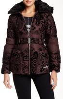 Desigual Velvet Textured Faux Fur Trim Overcoat