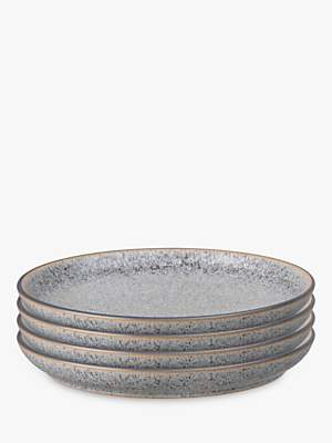 Denby Studio Grey Coupe Dinner Plates, 26cm, Set of 4