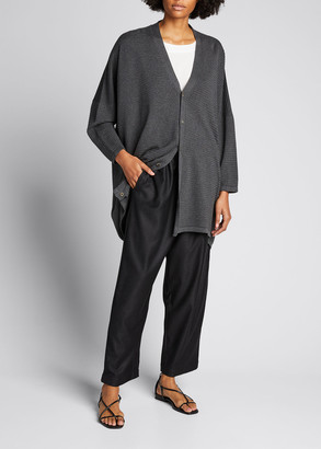 eskandar Long V-Neck Ribbed Silk Cardigan