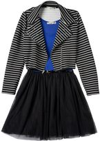 Knitworks Girls 7-16 Skater Dress & Striped Moto Jacket Set