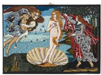 Olympia Le-Tan Boticelli Venus Embroidered Box Clutch - Black Multi