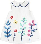 Simonetta Embroidered Blend Cotton Piqué Dress