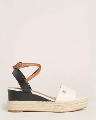 Lauren Ralph Lauren Vanilla & Black Delores Espadrille Wedge Sandals
